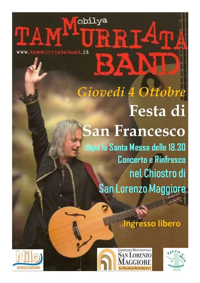 Tammurriata Band, concerto nel Chiostro di San Lorenzo Maggiore giovedì 4 ottobre nel giorno di San Francesco