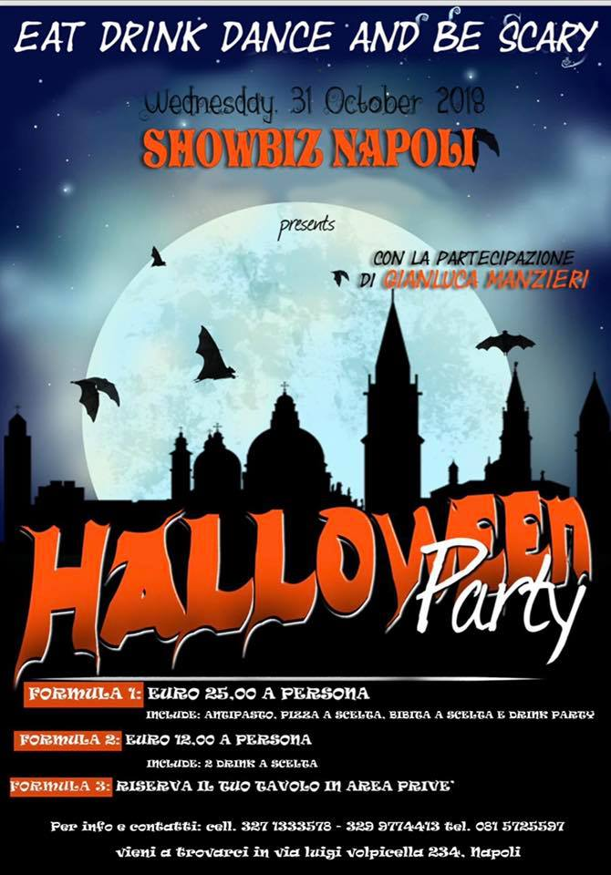 Showbiz Napoli, Halloween Party con Gianluca Manzieri