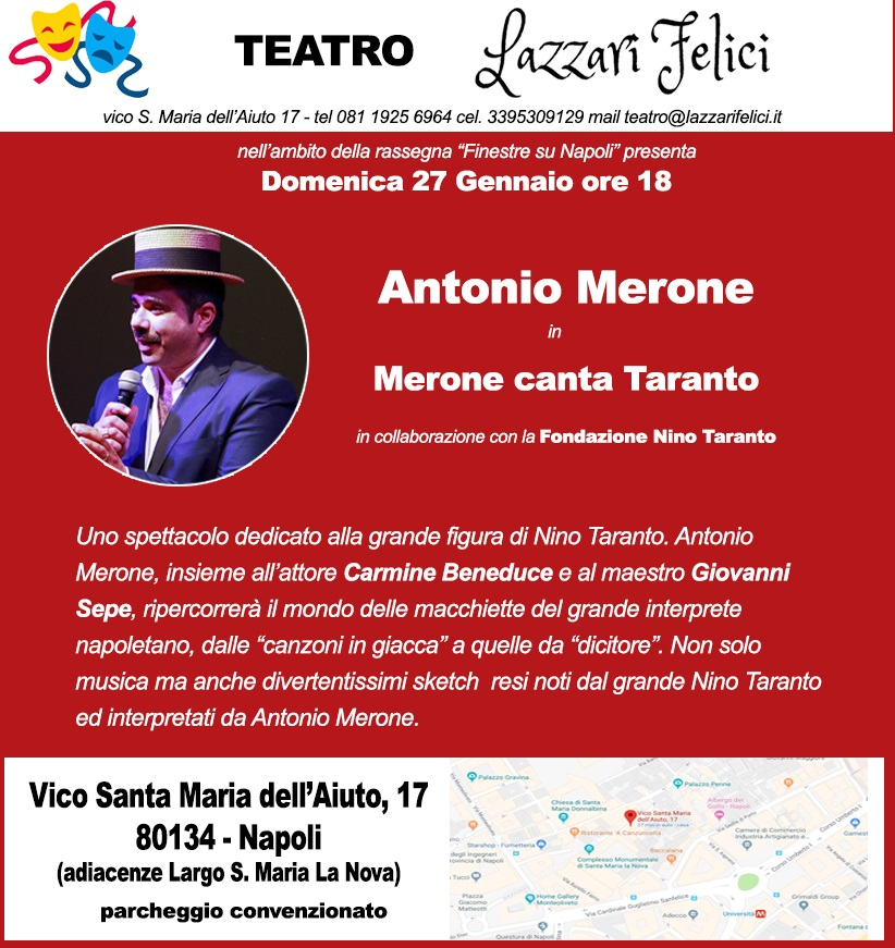 """Merone canta Taranto"" di Antonio Merone al teatro Lazzari Felici"